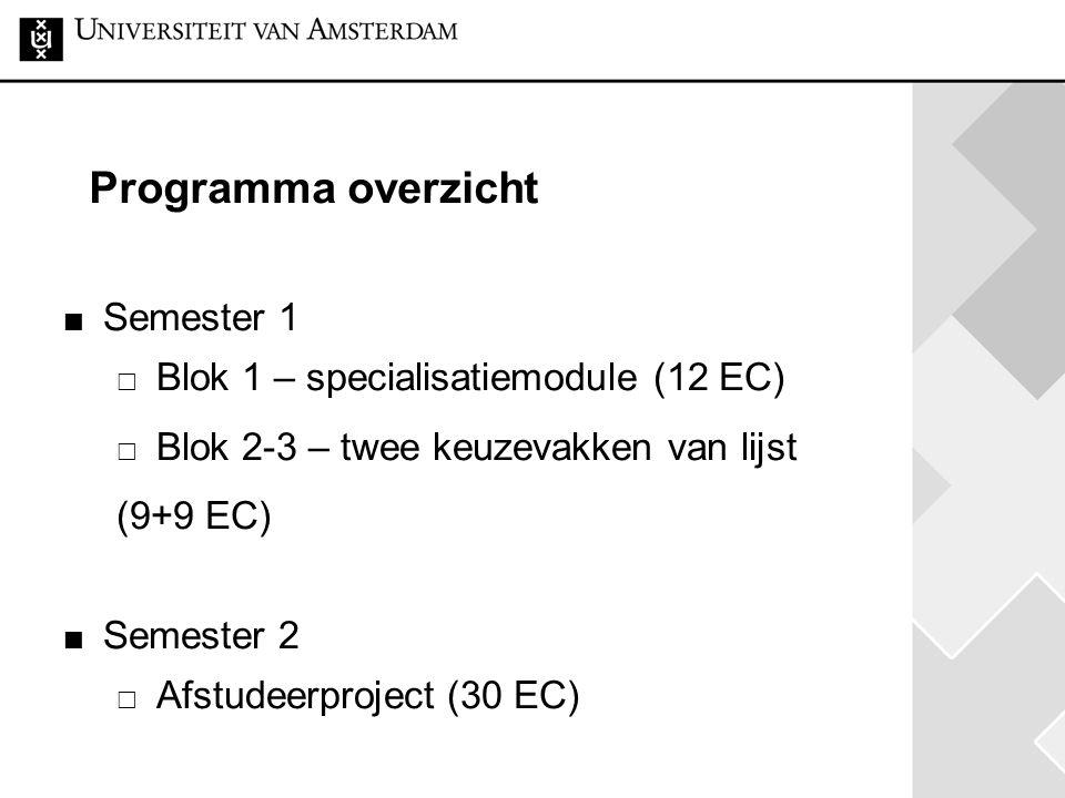 Programma overzicht Semester 1 Blok 1 – specialisatiemodule (12 EC)