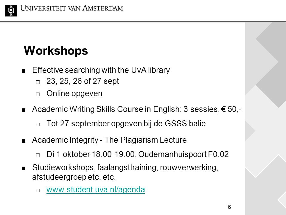 Workshops Effective searching with the UvA library