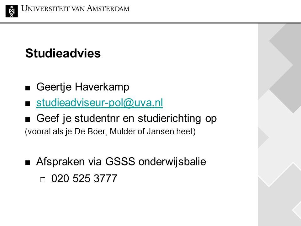 Studieadvies Geertje Haverkamp studieadviseur-pol@uva.nl
