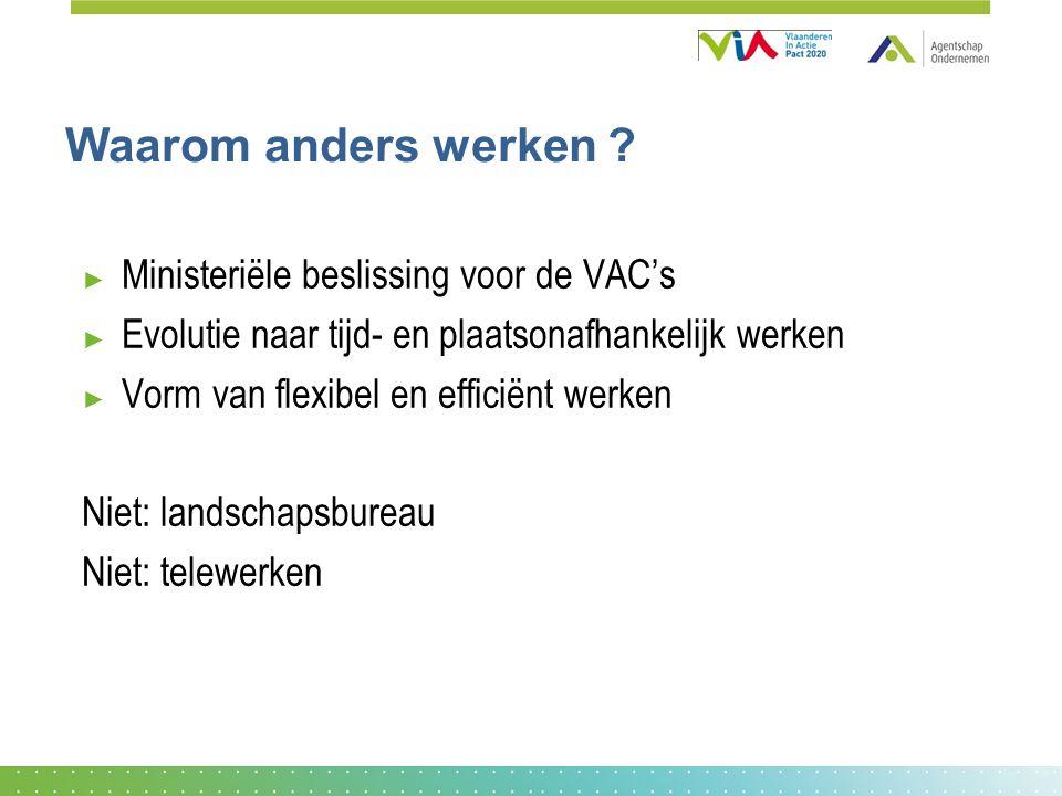 Waarom anders werken Ministeriële beslissing voor de VAC's