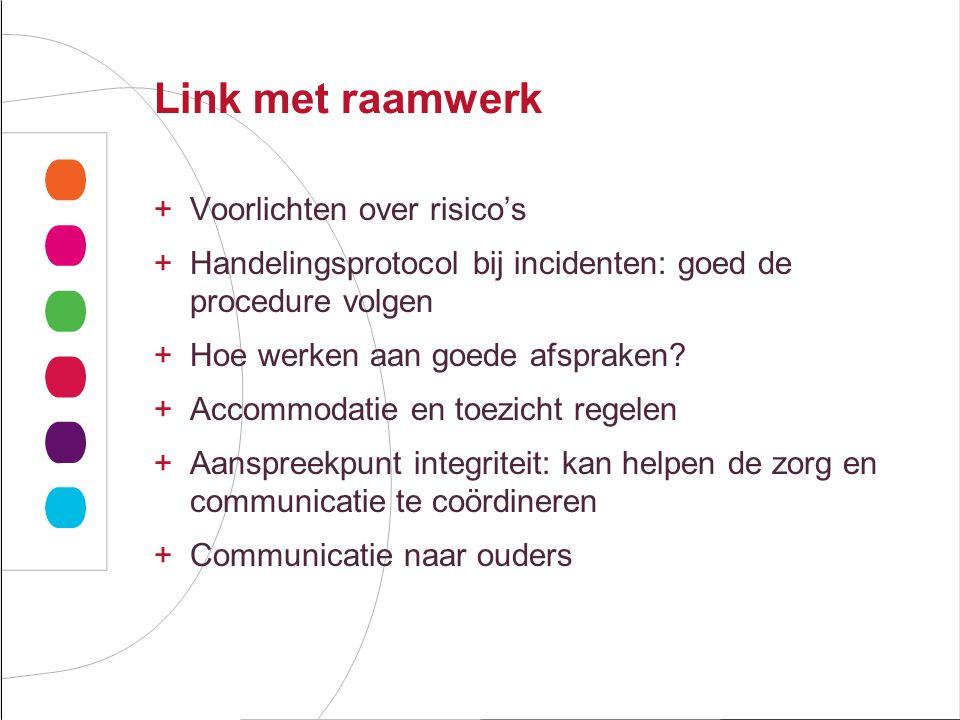 Link met raamwerk Voorlichten over risico's