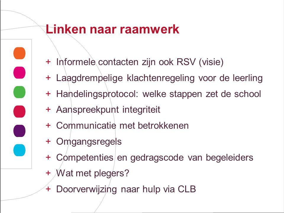 Linken naar raamwerk Informele contacten zijn ook RSV (visie)