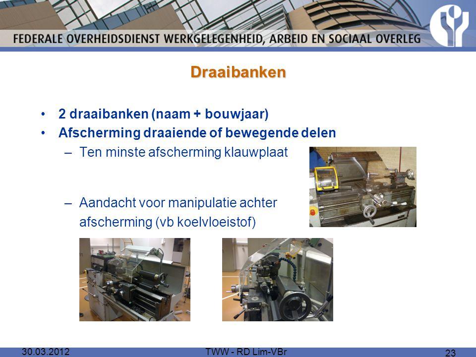 Draaibanken 2 draaibanken (naam + bouwjaar)