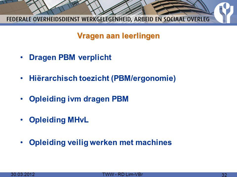 Hiërarchisch toezicht (PBM/ergonomie) Opleiding ivm dragen PBM