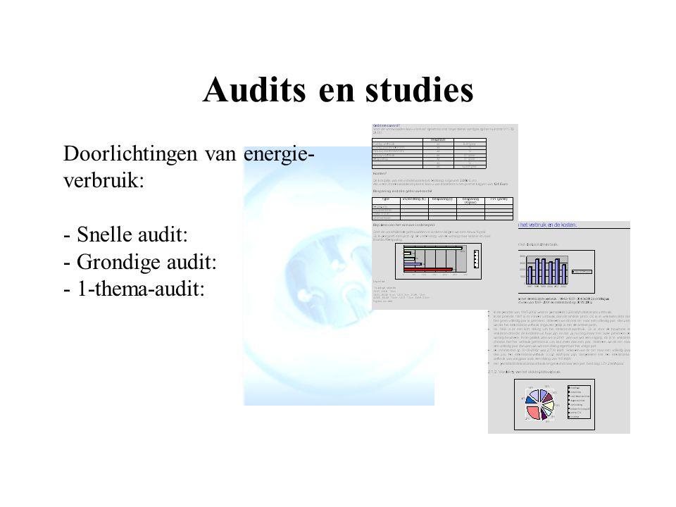 Audits en studies Doorlichtingen van energie-verbruik: - Snelle audit: