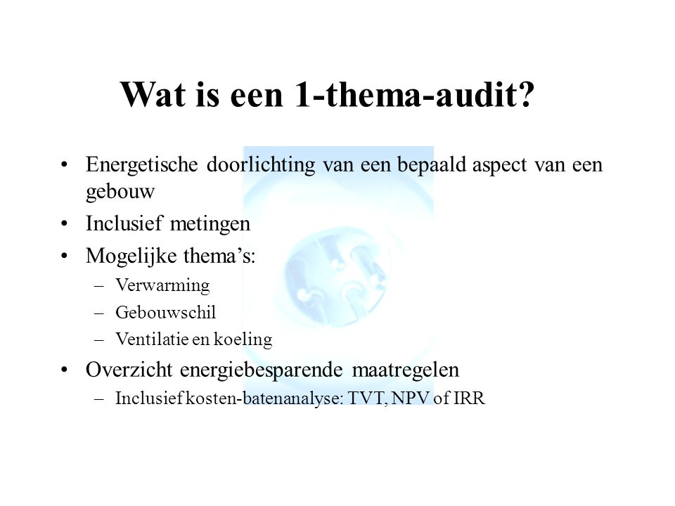 Wat is een 1-thema-audit