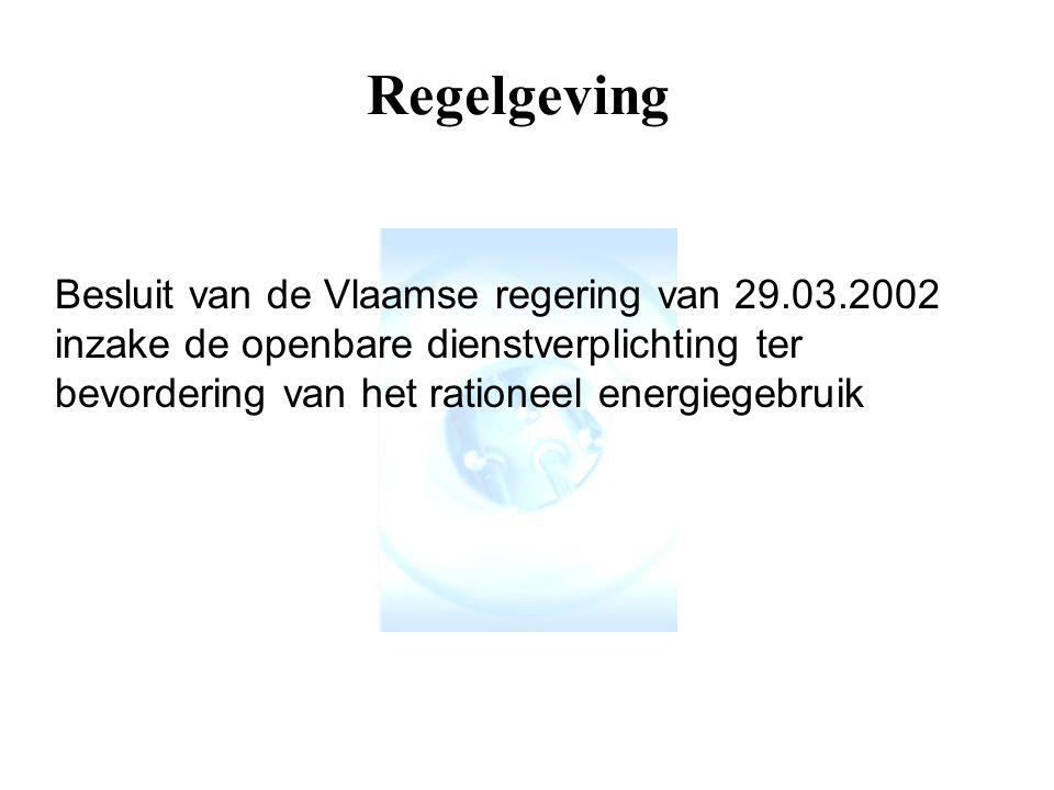 Regelgeving Besluit van de Vlaamse regering van 29.03.2002 inzake de openbare dienstverplichting ter bevordering van het rationeel energiegebruik.