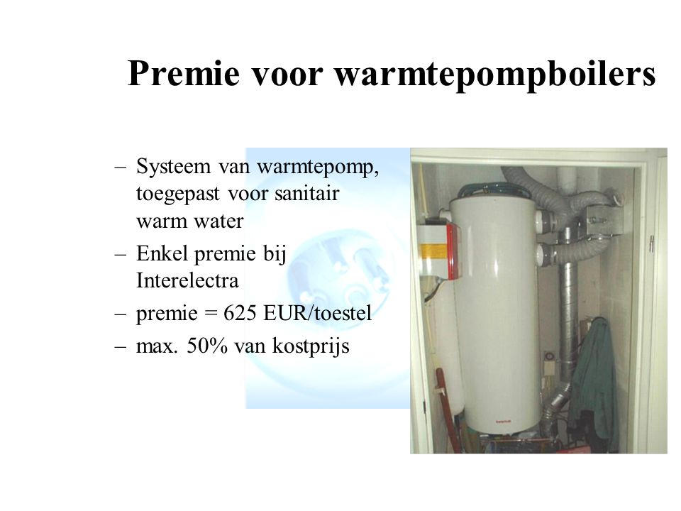 Premie voor warmtepompboilers