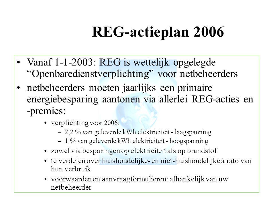 REG-actieplan 2006 Vanaf 1-1-2003: REG is wettelijk opgelegde Openbaredienstverplichting voor netbeheerders.