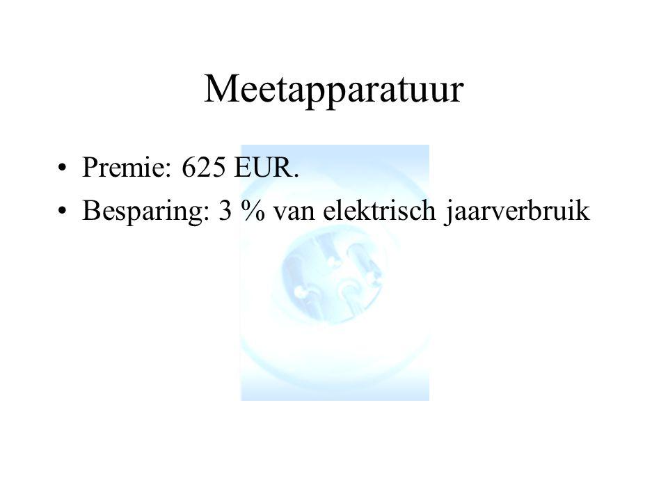 Meetapparatuur Premie: 625 EUR.