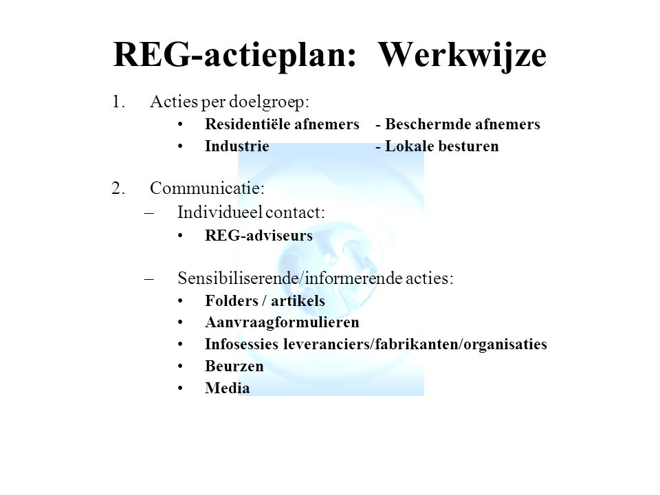 REG-actieplan: Werkwijze