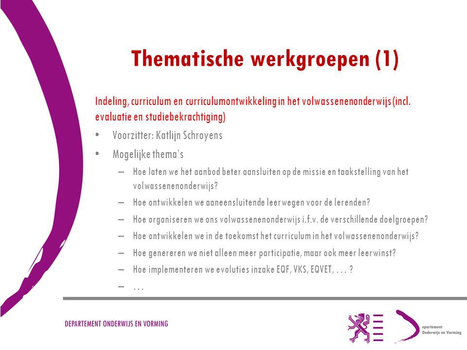 Thematische werkgroepen (1)