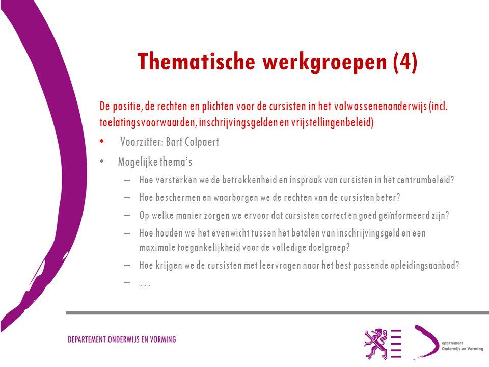 Thematische werkgroepen (4)