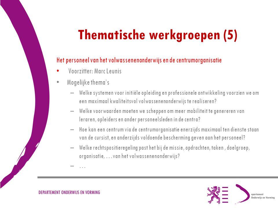 Thematische werkgroepen (5)