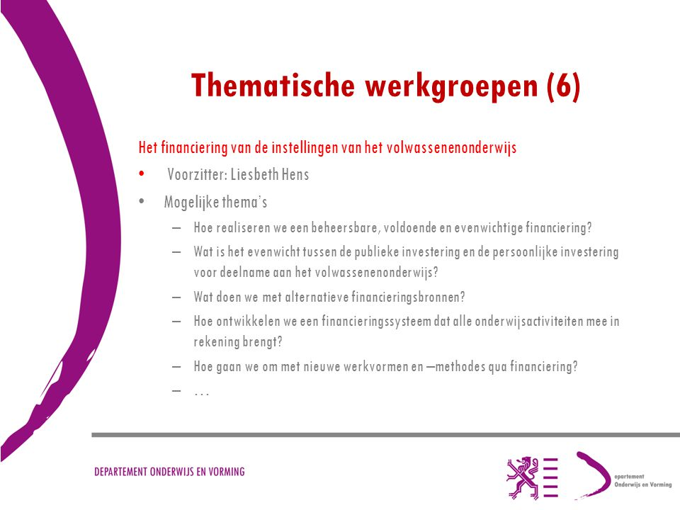 Thematische werkgroepen (6)