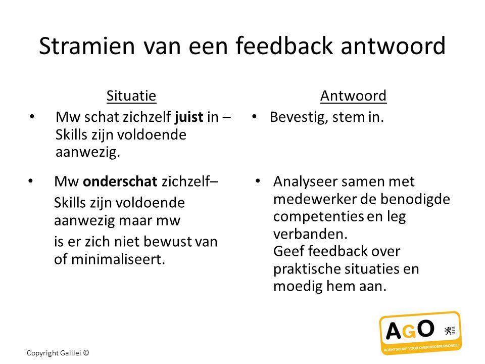 Stramien van een feedback antwoord