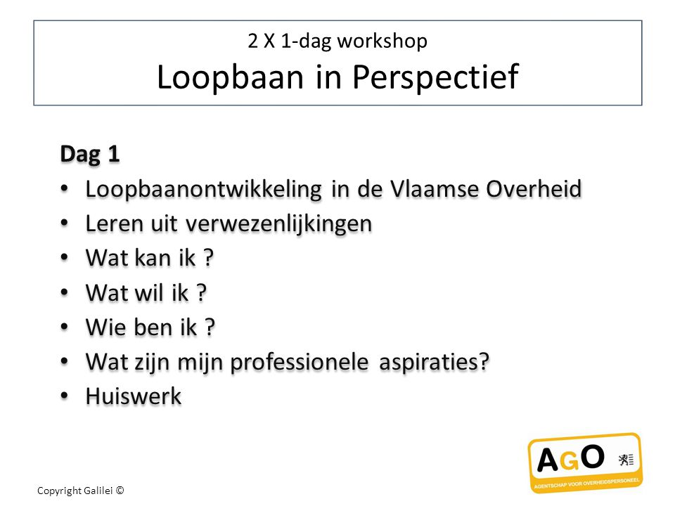 2 X 1-dag workshop Loopbaan in Perspectief