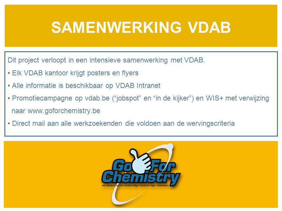 SAMENWERKING VDAB Dit project verloopt in een intensieve samenwerking met VDAB. Elk VDAB kantoor krijgt posters en flyers.