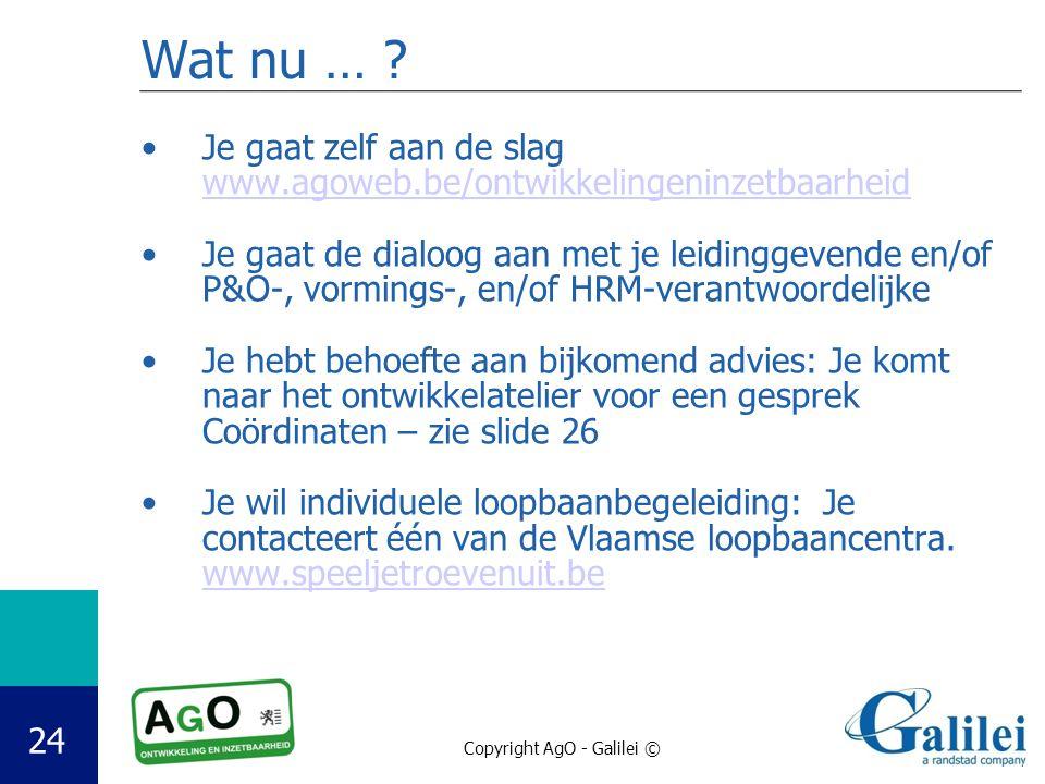 Wat nu … Je gaat zelf aan de slag www.agoweb.be/ontwikkelingeninzetbaarheid.