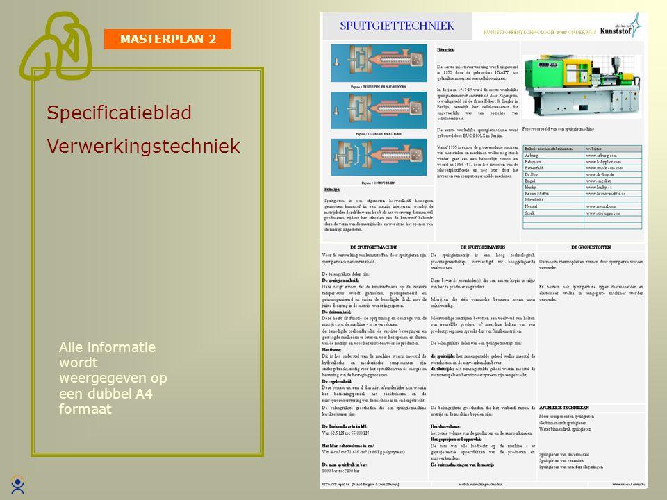 Specificatieblad Verwerkingstechniek