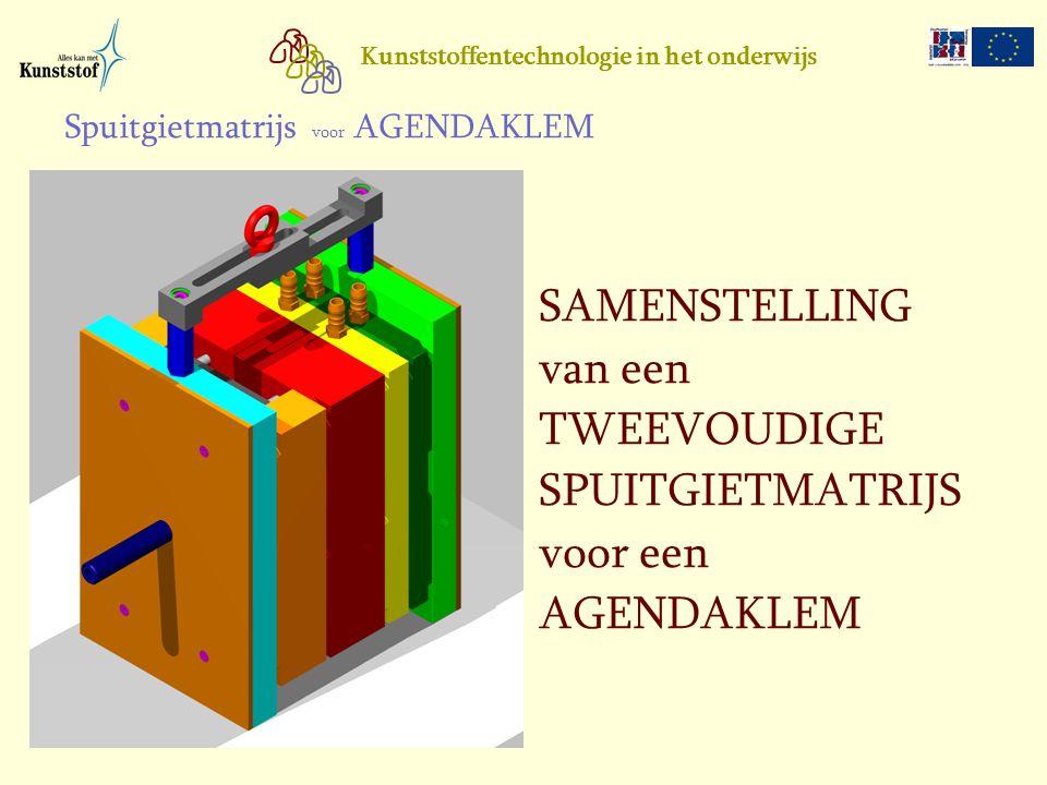 SAMENSTELLING van een TWEEVOUDIGE SPUITGIETMATRIJS voor een AGENDAKLEM
