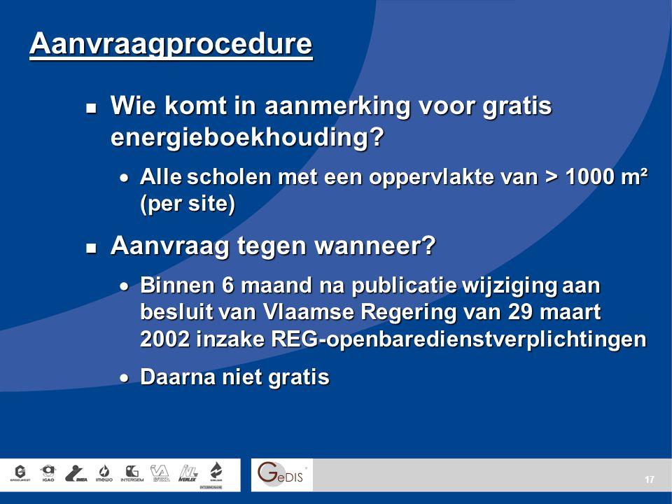 Aanvraagprocedure Wie komt in aanmerking voor gratis energieboekhouding Alle scholen met een oppervlakte van > 1000 m² (per site)