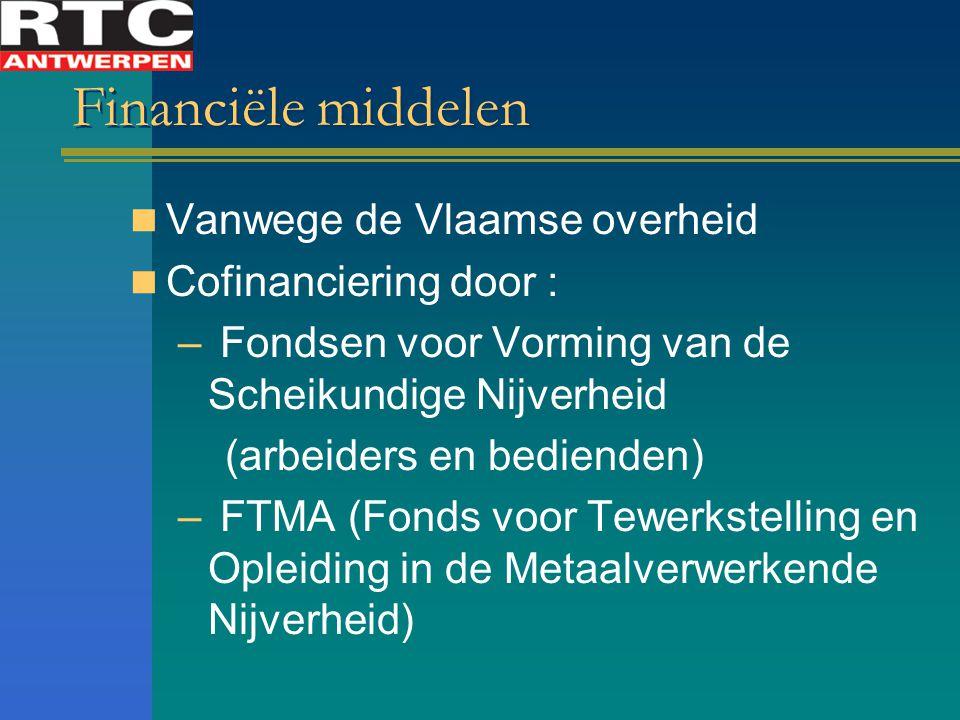 Financiële middelen Vanwege de Vlaamse overheid Cofinanciering door :
