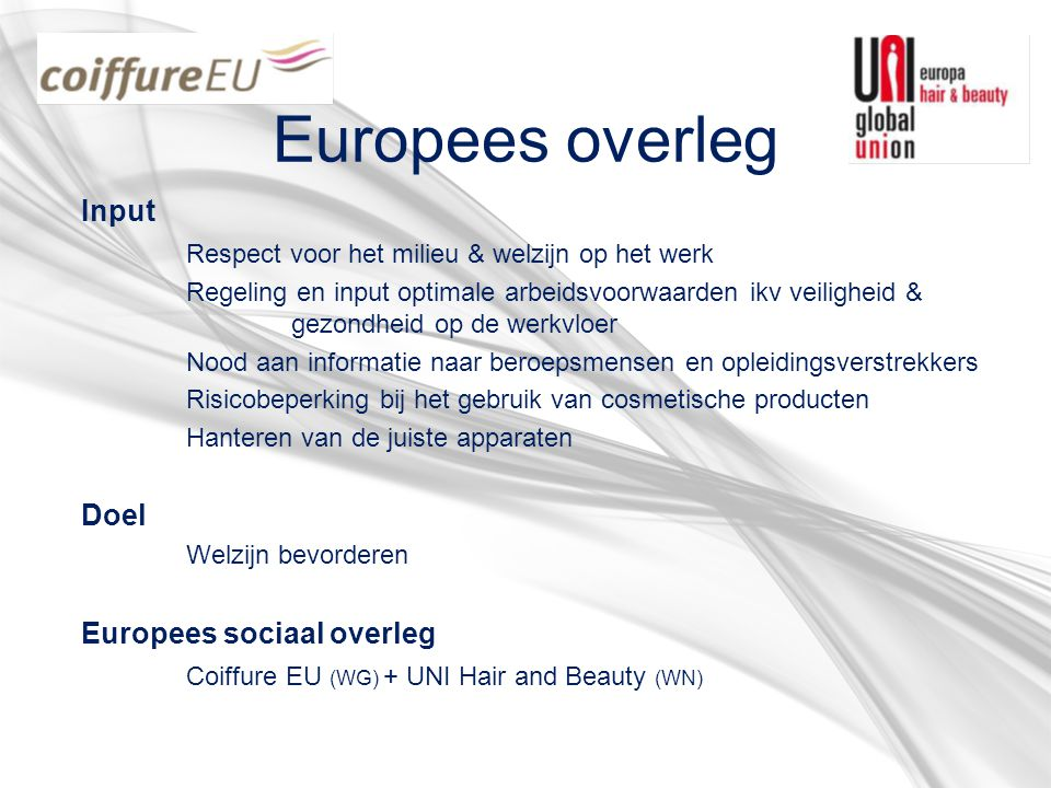 Europees overleg Input Respect voor het milieu & welzijn op het werk