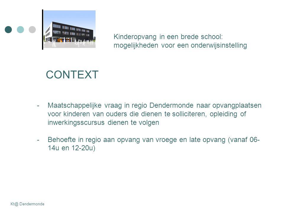 CONTEXT Kinderopvang in een brede school: