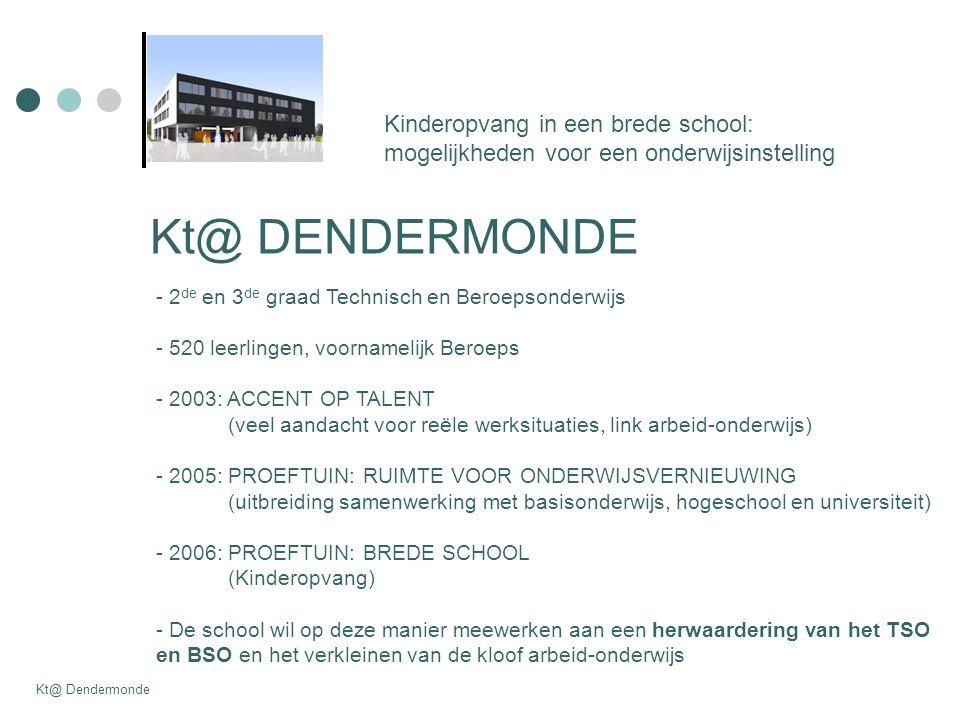 Kt@ DENDERMONDE Kinderopvang in een brede school: