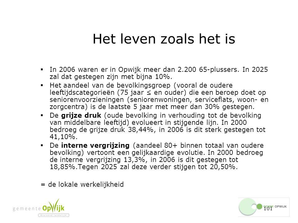 Het leven zoals het is In 2006 waren er in Opwijk meer dan 2.200 65-plussers. In 2025 zal dat gestegen zijn met bijna 10%.