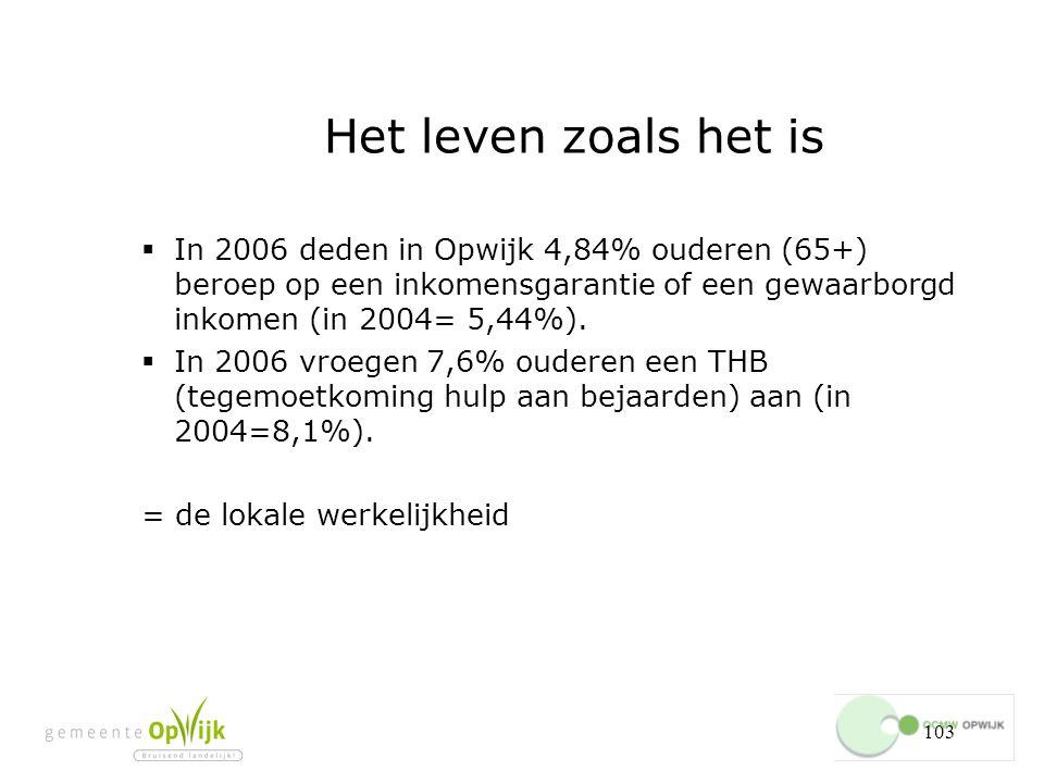 Het leven zoals het is In 2006 deden in Opwijk 4,84% ouderen (65+) beroep op een inkomensgarantie of een gewaarborgd inkomen (in 2004= 5,44%).