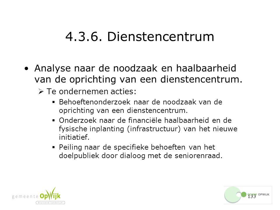 4.3.6. Dienstencentrum Analyse naar de noodzaak en haalbaarheid van de oprichting van een dienstencentrum.
