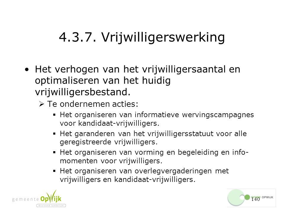 4.3.7. Vrijwilligerswerking
