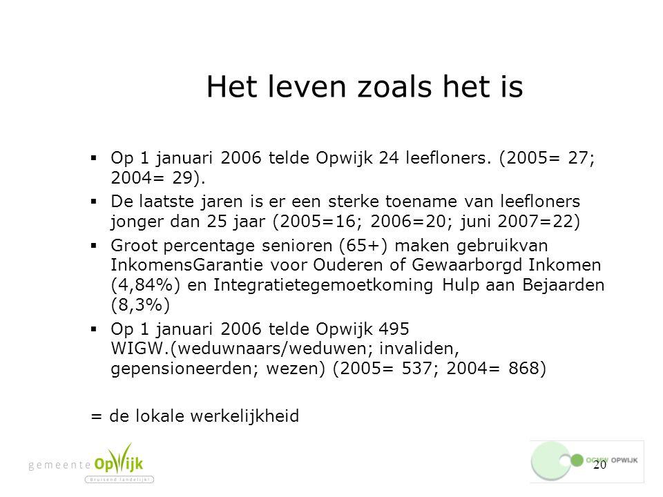 Het leven zoals het is Op 1 januari 2006 telde Opwijk 24 leefloners. (2005= 27; 2004= 29).