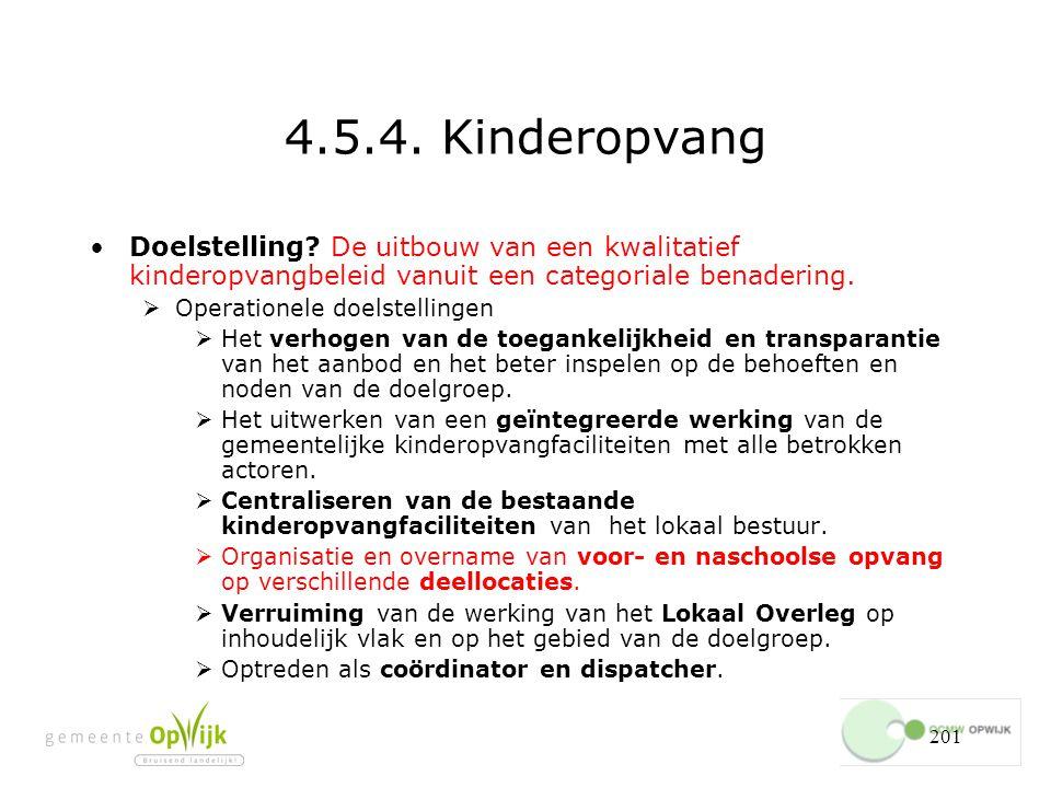 4.5.4. Kinderopvang Doelstelling De uitbouw van een kwalitatief kinderopvangbeleid vanuit een categoriale benadering.