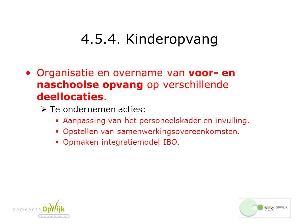 4.5.4. Kinderopvang Organisatie en overname van voor- en naschoolse opvang op verschillende deellocaties.