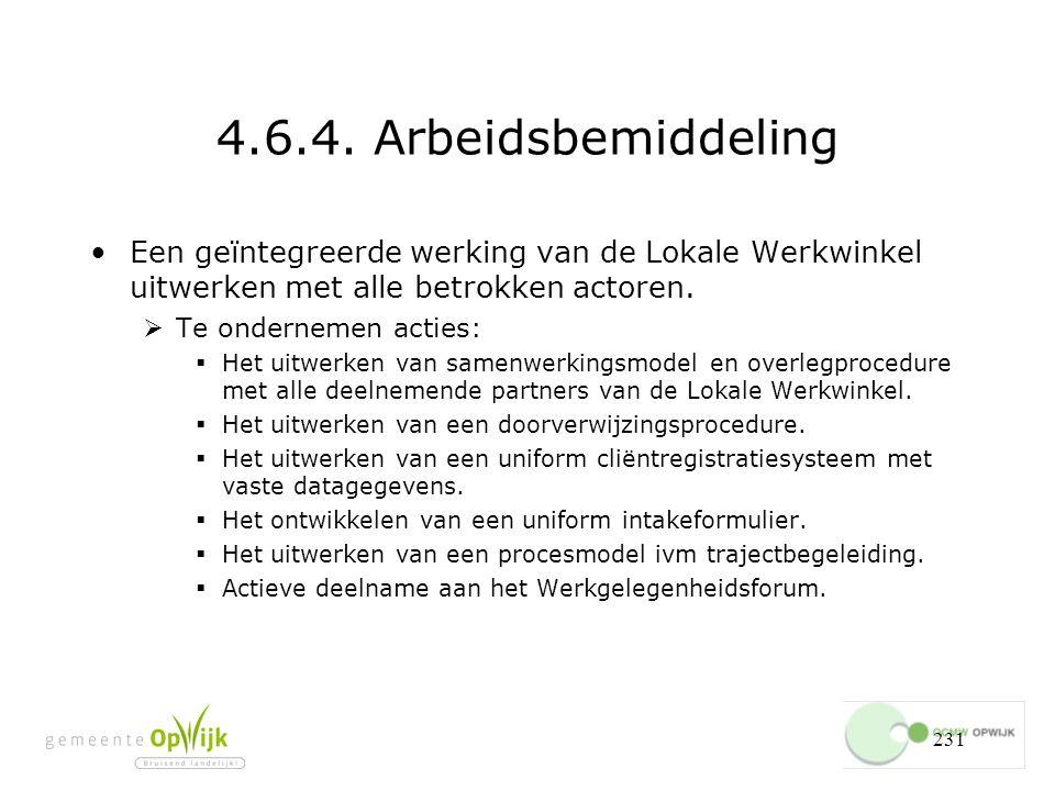 4.6.4. Arbeidsbemiddeling Een geïntegreerde werking van de Lokale Werkwinkel uitwerken met alle betrokken actoren.