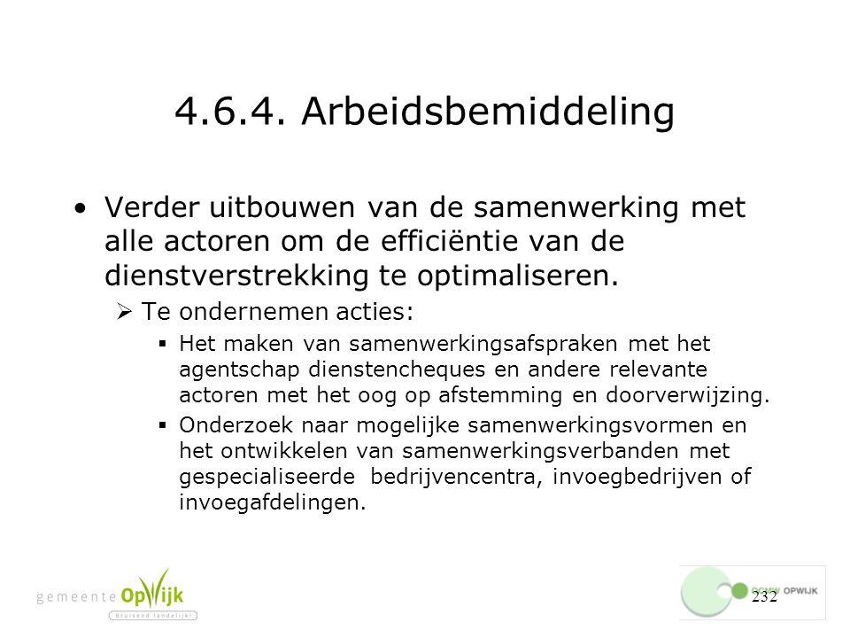4.6.4. Arbeidsbemiddeling Verder uitbouwen van de samenwerking met alle actoren om de efficiëntie van de dienstverstrekking te optimaliseren.
