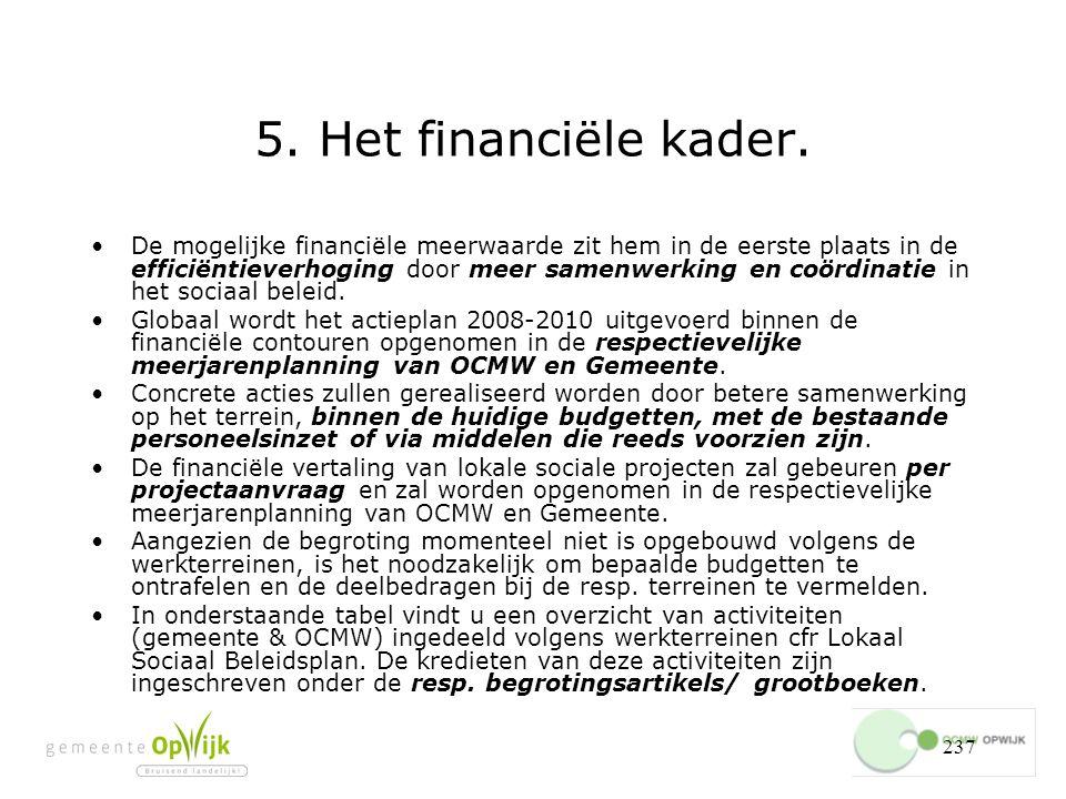 5. Het financiële kader.