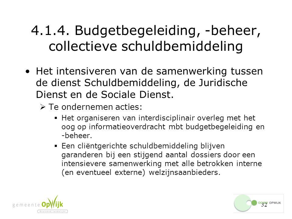 4.1.4. Budgetbegeleiding, -beheer, collectieve schuldbemiddeling