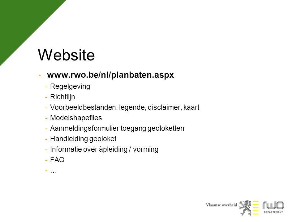 Website www.rwo.be/nl/planbaten.aspx Regelgeving Richtlijn
