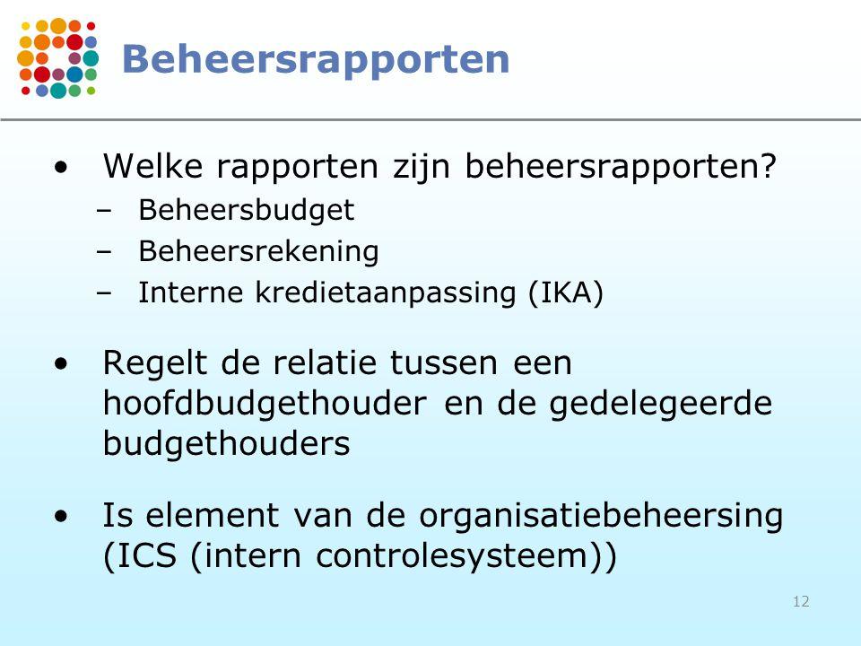 Beheersrapporten Welke rapporten zijn beheersrapporten