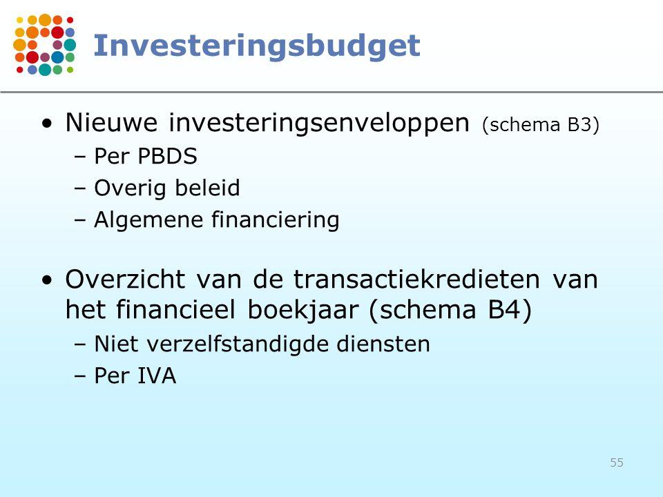 Investeringsbudget Nieuwe investeringsenveloppen (schema B3)