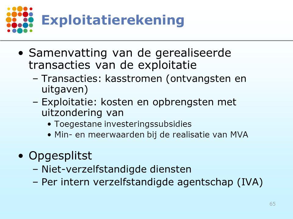 Exploitatierekening Samenvatting van de gerealiseerde transacties van de exploitatie. Transacties: kasstromen (ontvangsten en uitgaven)