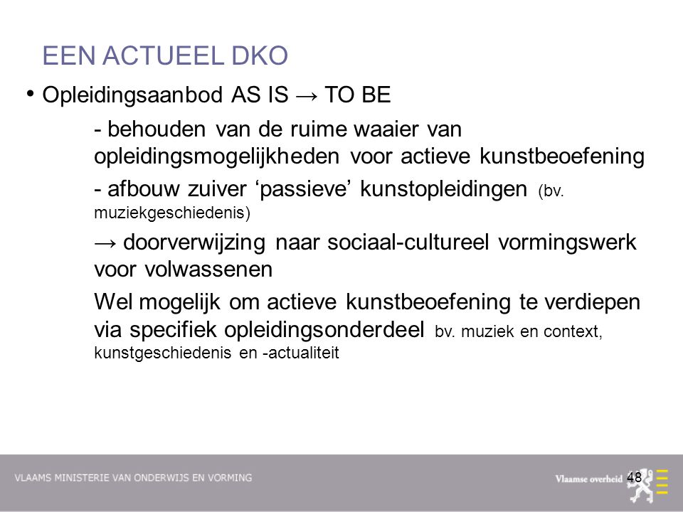 Opleidingsaanbod AS IS → TO BE