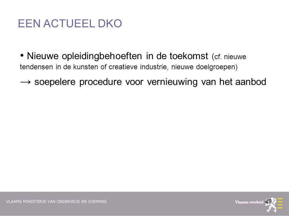 EEN ACTUEEL DKO Nieuwe opleidingbehoeften in de toekomst (cf. nieuwe tendensen in de kunsten of creatieve industrie, nieuwe doelgroepen)
