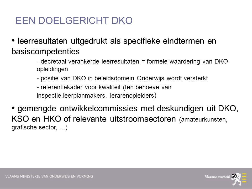 EEN DOELGERICHT DKO leerresultaten uitgedrukt als specifieke eindtermen en basiscompetenties.
