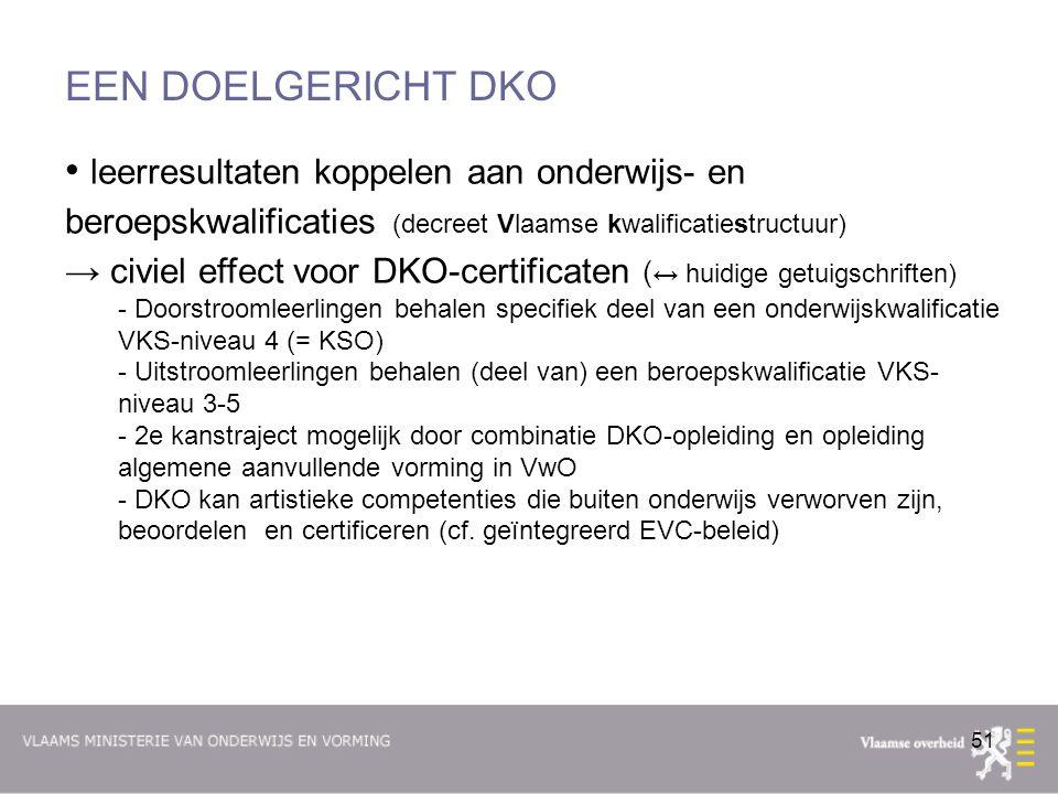 EEN DOELGERICHT DKO leerresultaten koppelen aan onderwijs- en beroepskwalificaties (decreet Vlaamse kwalificatiestructuur)
