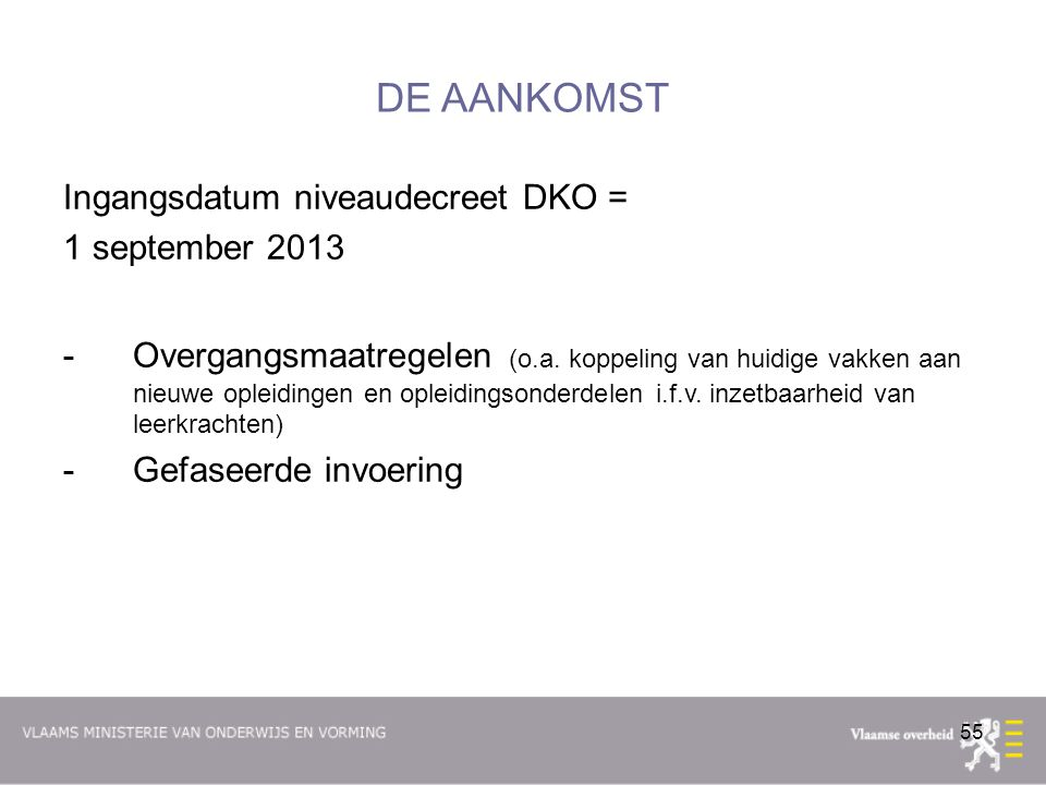 DE AANKOMST Ingangsdatum niveaudecreet DKO = 1 september 2013